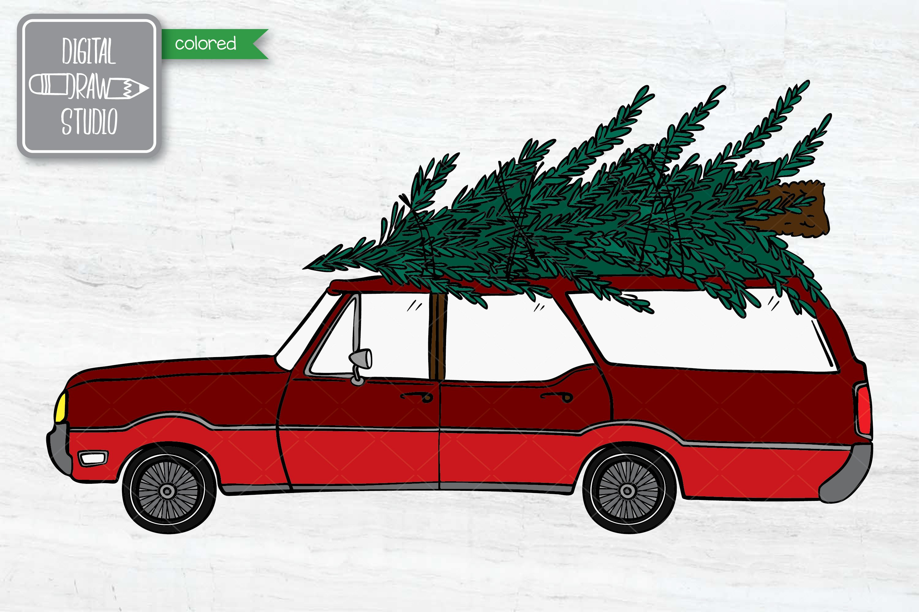 Color Station Wagon Car Christmas | Tree on Roof Top Holiday example image 3