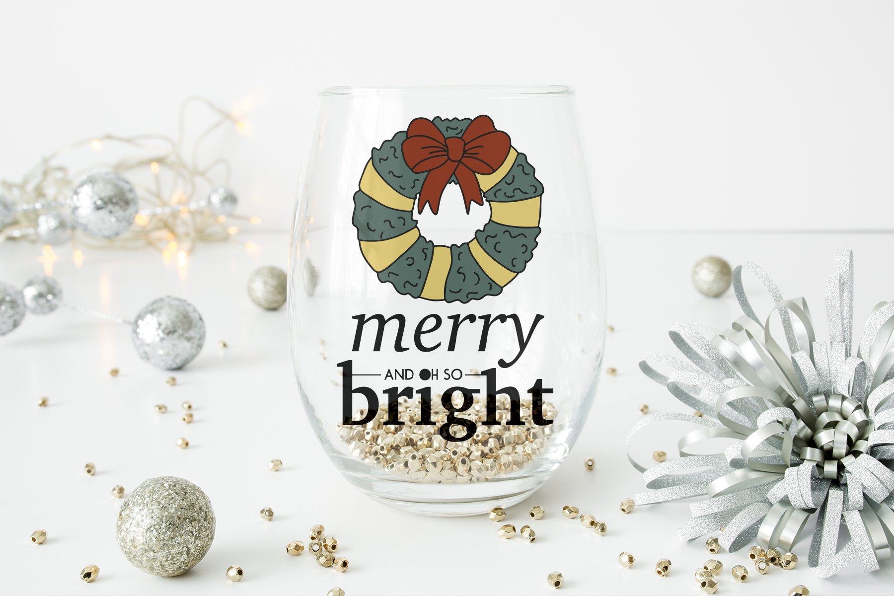Merry and Bright SVG | Christmas Wreath SVG example image 2
