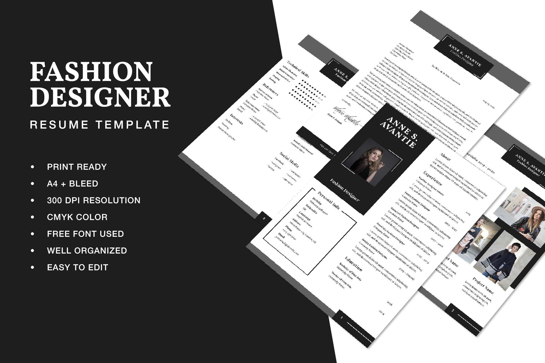 Fashion Designer Resume Cv Template 521732 Resume Templates Design Bundles