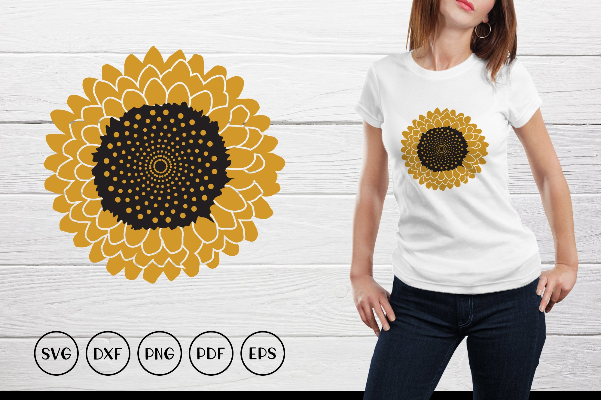 Sunflower SVG, Sunflower Clipart, Sunflower Monogram SVG example image 1