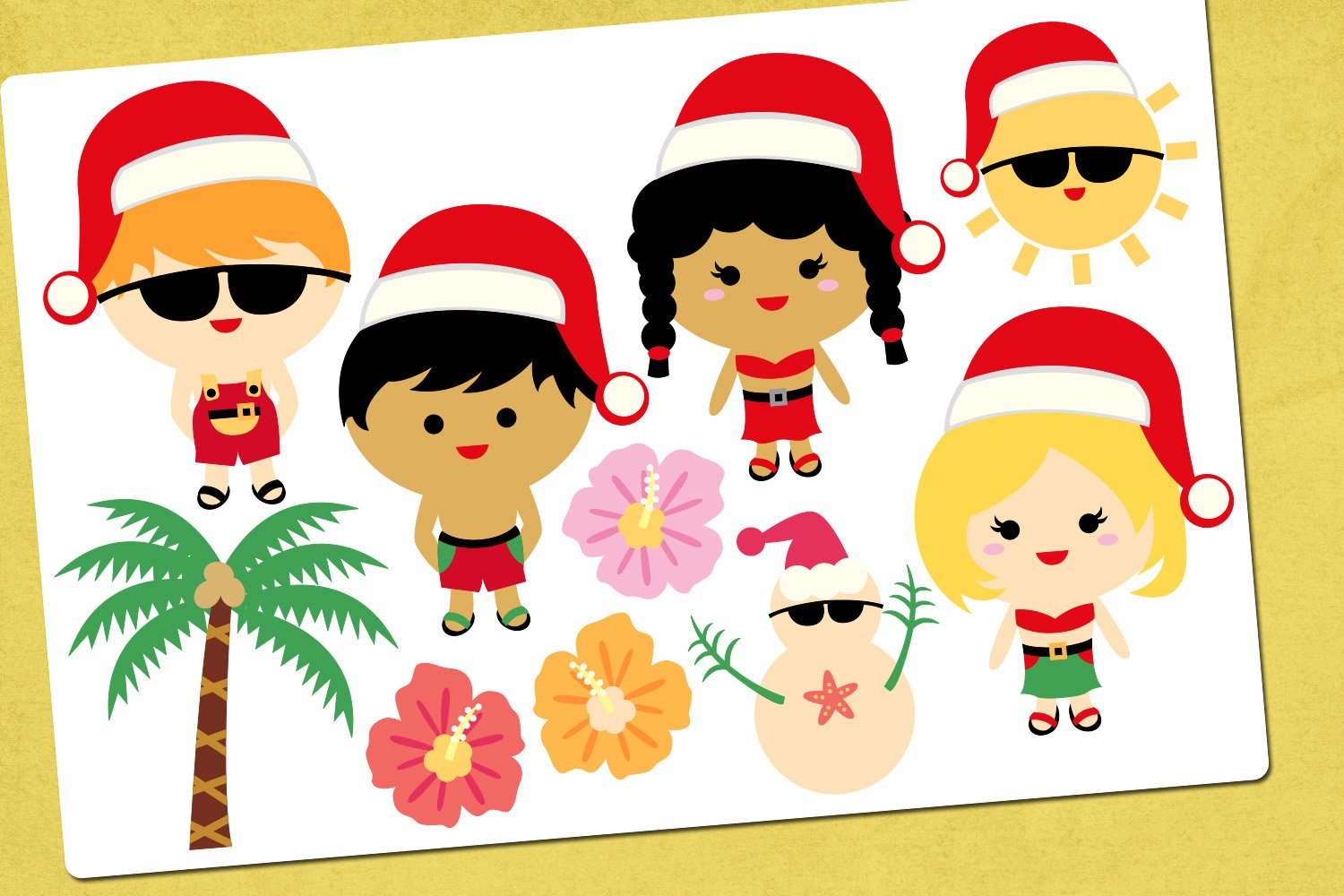 Christmas Beach Party Illustrations Clip Art example image 2