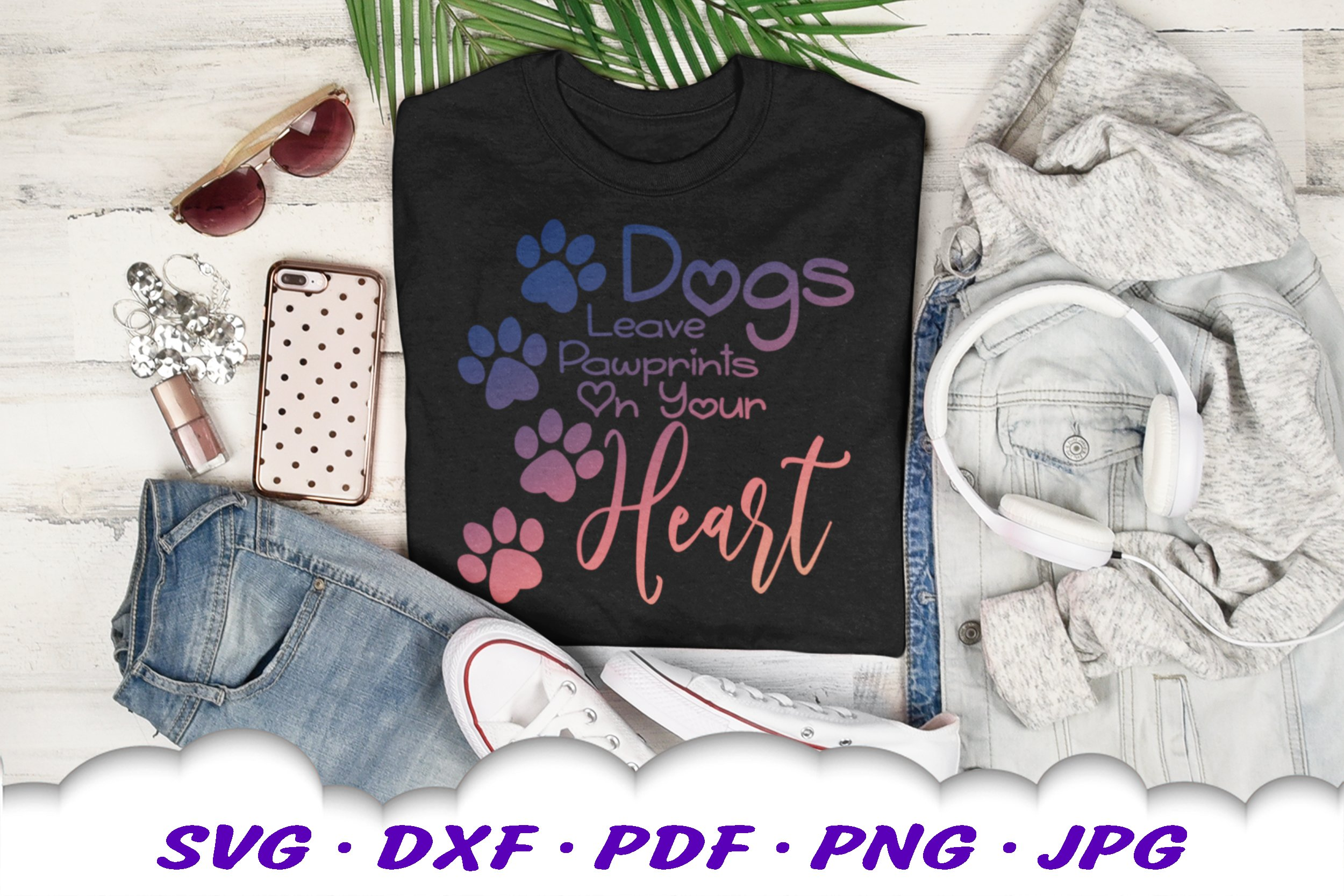 Dog Mom Paw Print Quote SVG DXF Cut Files example image 3