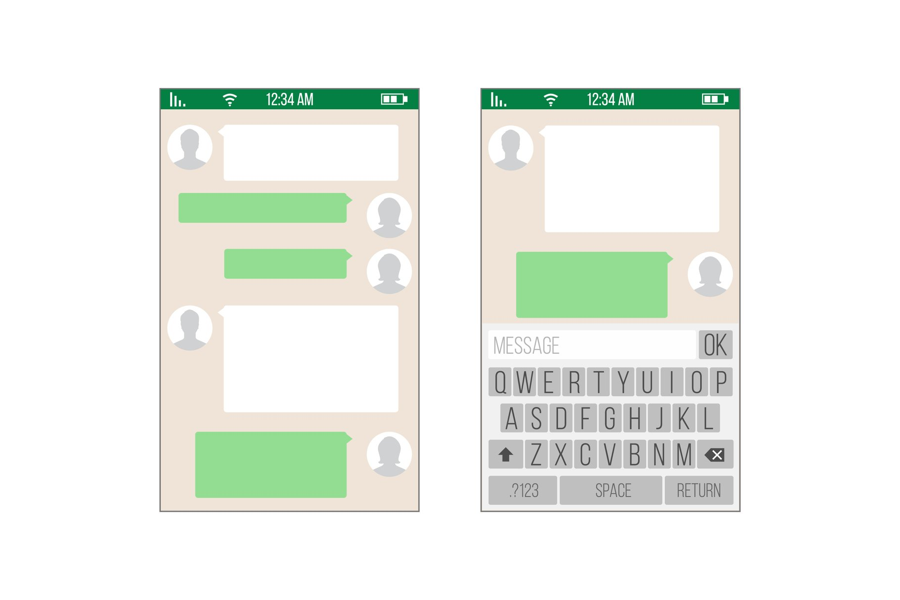 Chat, Sms Application Vector Template. Message Boxes. Modern example image 1
