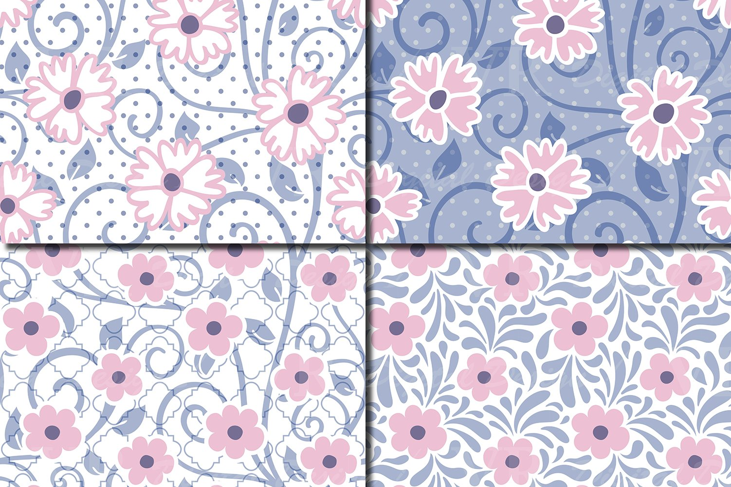 Floral swirls blue, pink, purple seamless digital paper example image 3