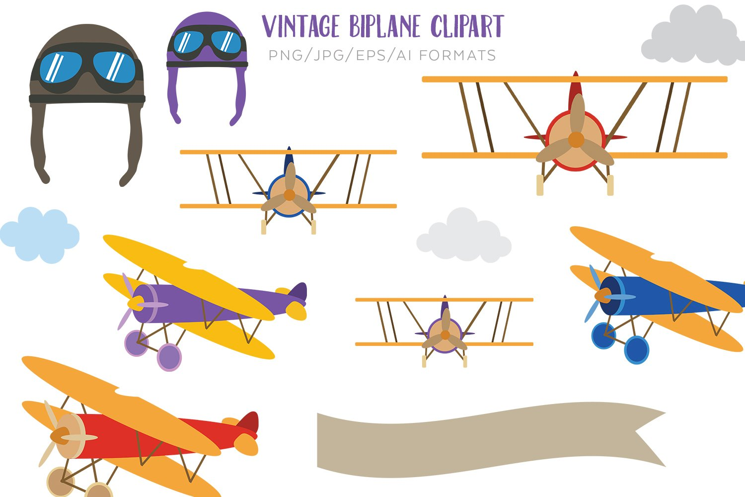 Vintage Biplane Vector Clipart example image 1