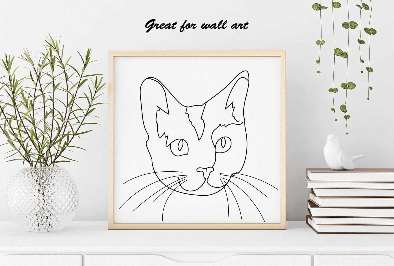 Cat Outline Sublimation Design - Modern Line Art example image 5