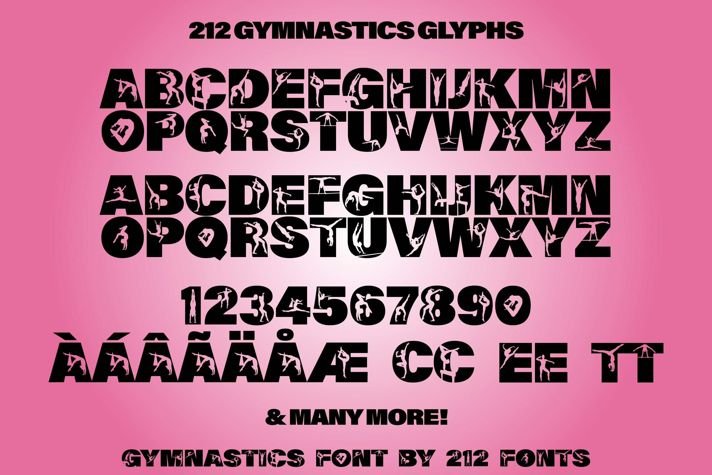 212 Gymnastics Caps Display Font Gymnast Alphabet OTF example image 9