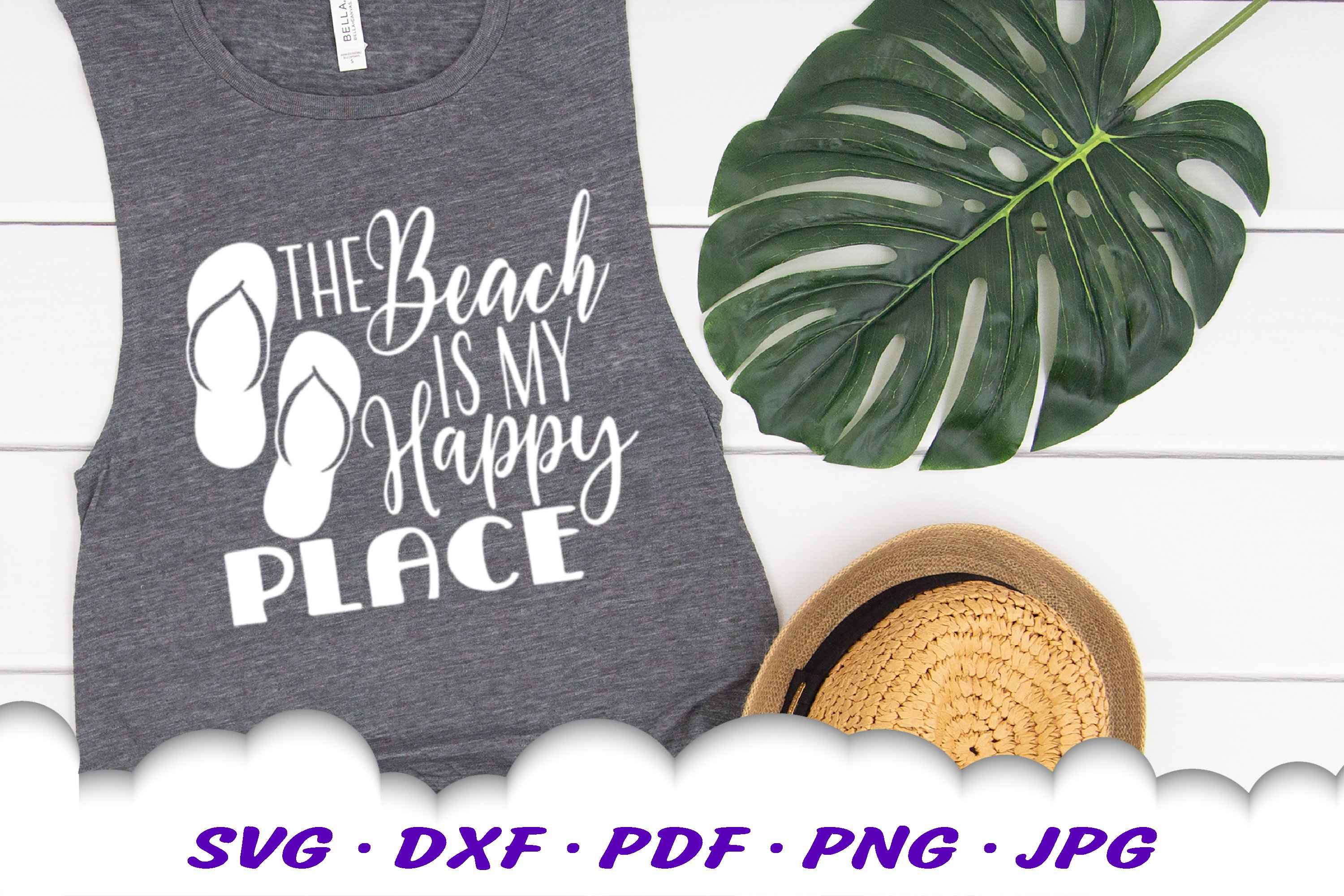The Beach Is My Happy Place SVG Flip Flops Cut Files example image 3