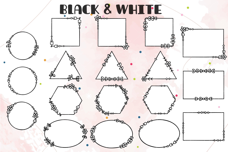 Download Geometric Frame Decorative Border Outline Floral Wreath 1051749 Illustrations Design Bundles