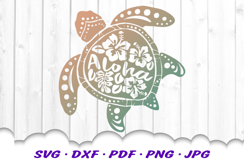 Aloha Hibiscus Sea Turtle SVG DXF Cut Files example image 3