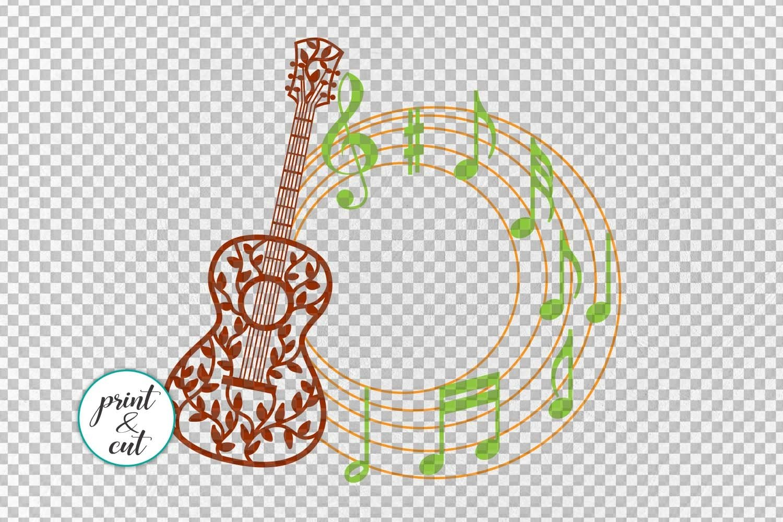 Floral Guitar Circle Monogram Layered File For Cut Or Print 131553 Svgs Design Bundles