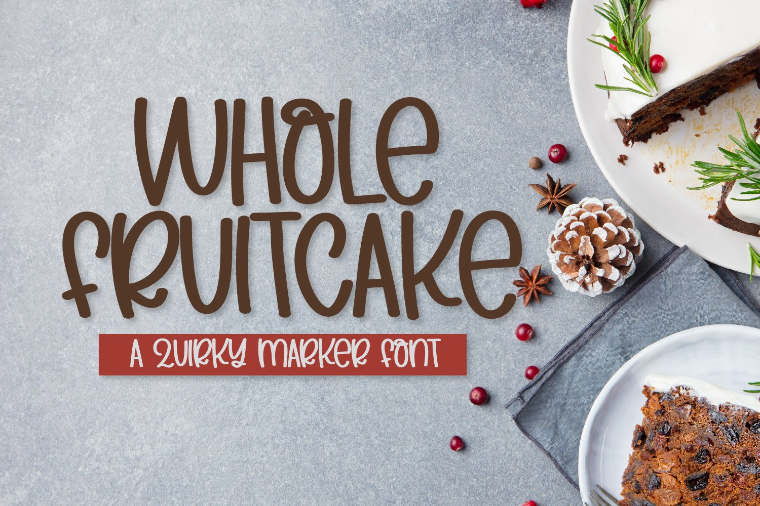 Whole Fruitcake - A Silly Marker Font example image 1