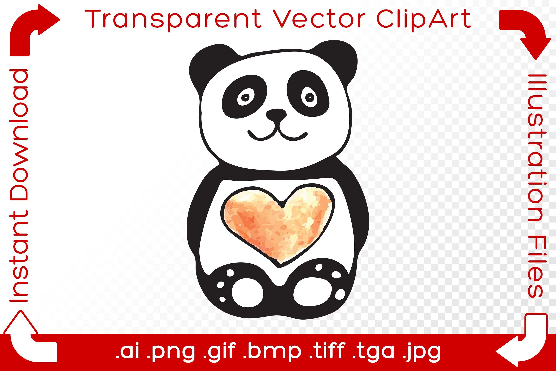 Panda Vector ClipArt Illustration Bear Red Valentine Heart ...