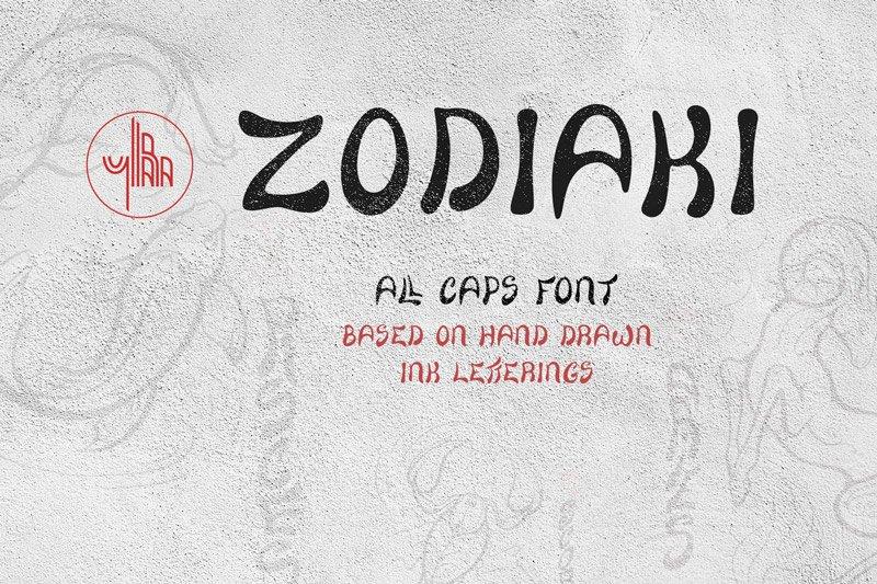 Zodiaki font, based on hand drawn letterings, TTF, OTF, SVG example image 1