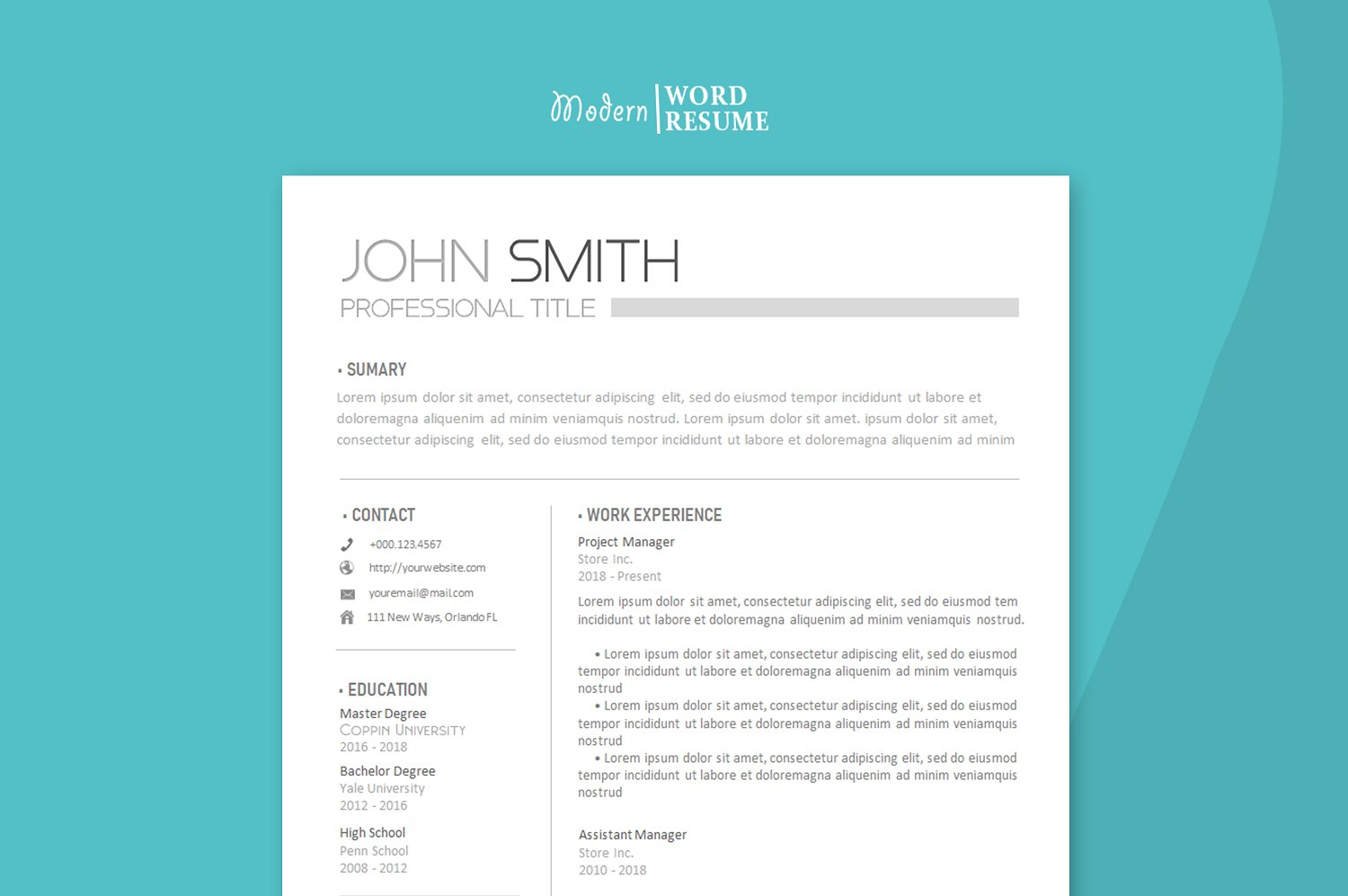 Resume template two pages Cover letter and Reference page ...