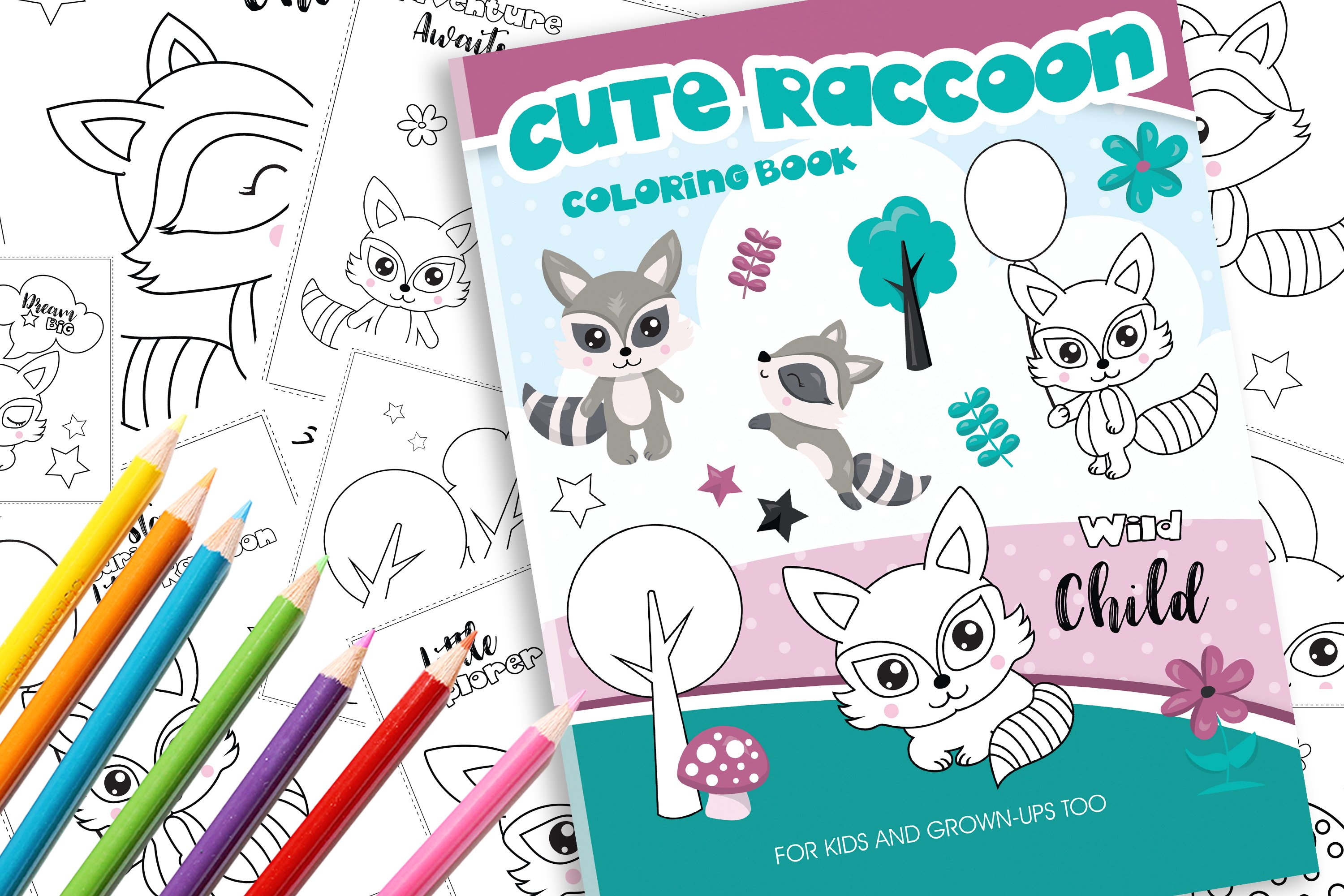 Cute Raccoons Coloring Book example image 1