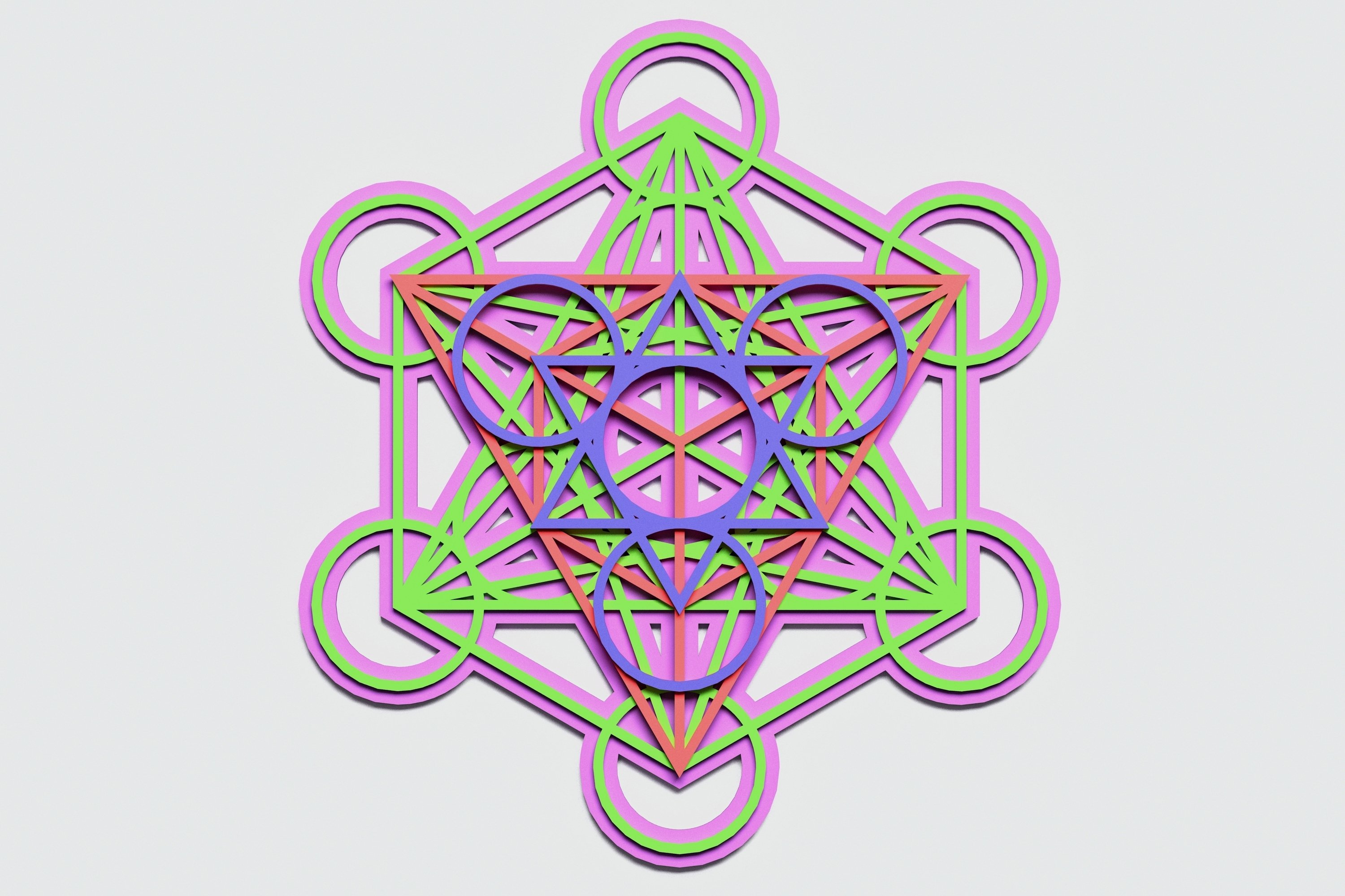 Metatron's Cube Multilayer Mandala, Vector file for cutting example image 1