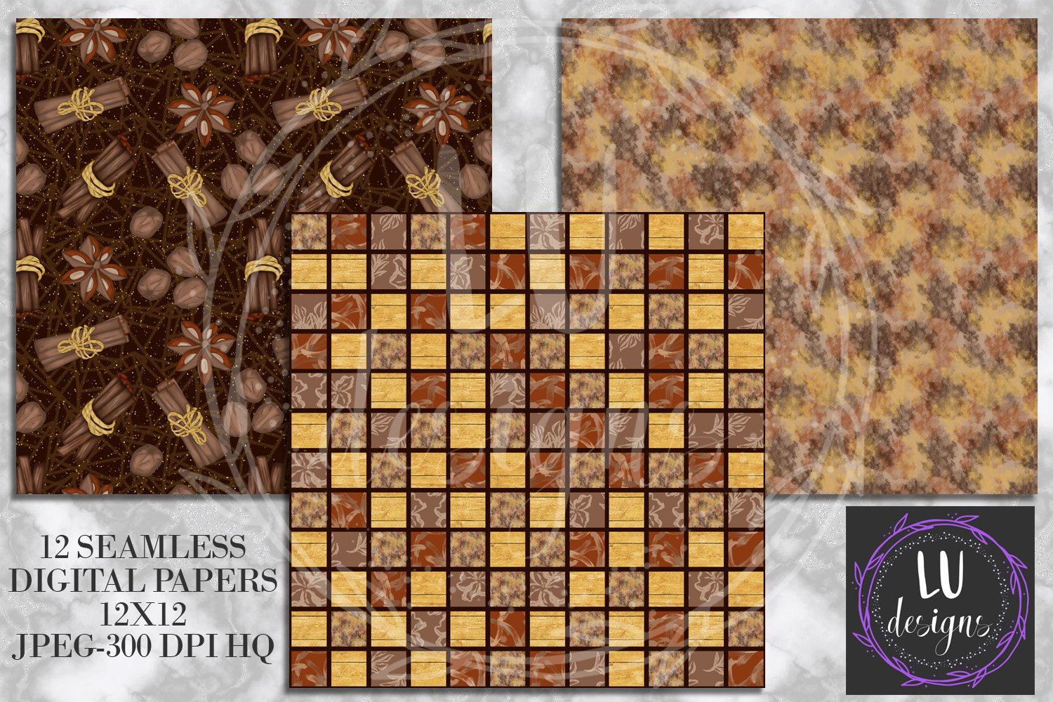 Cinnamon Spice Autumn Digital Paper, Fall Coffee Backgrounds example image 5