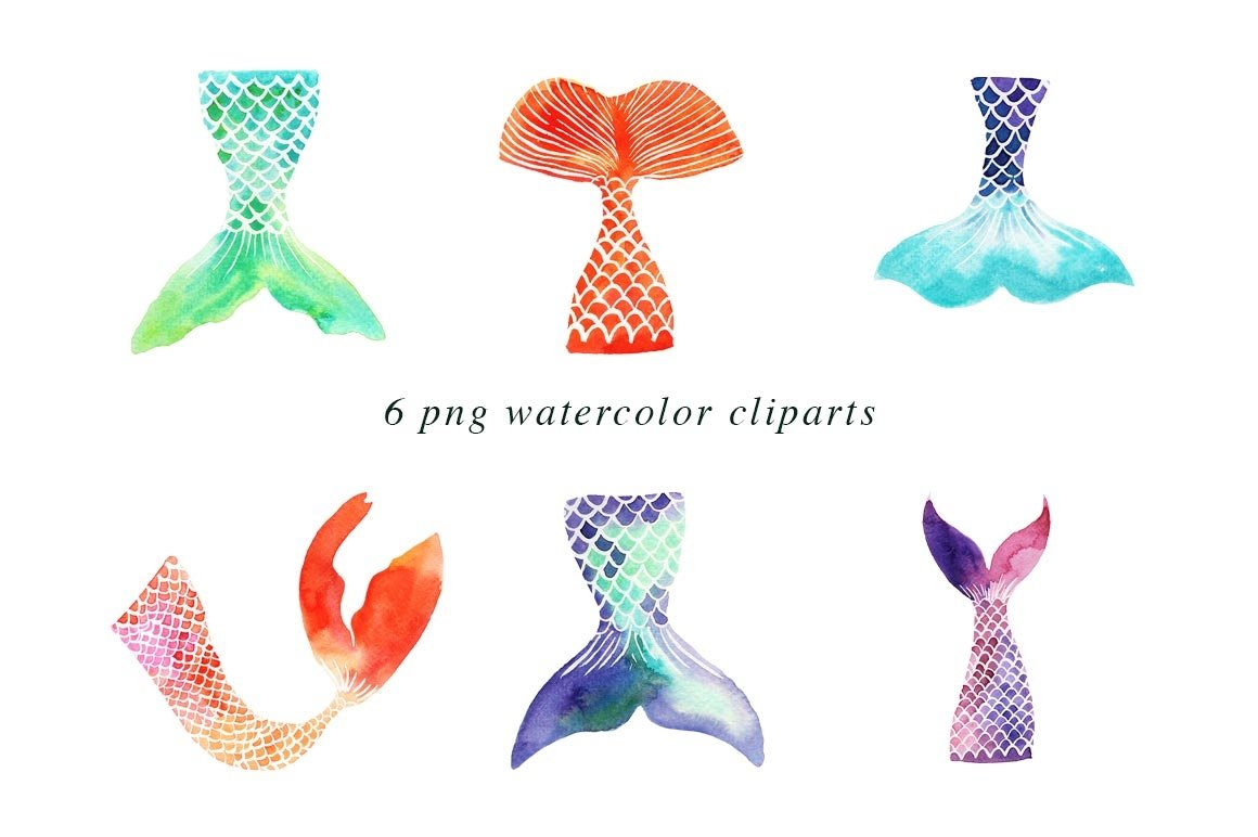 Mermaid Tails | Watercolor Illustrations Clipart example image 2