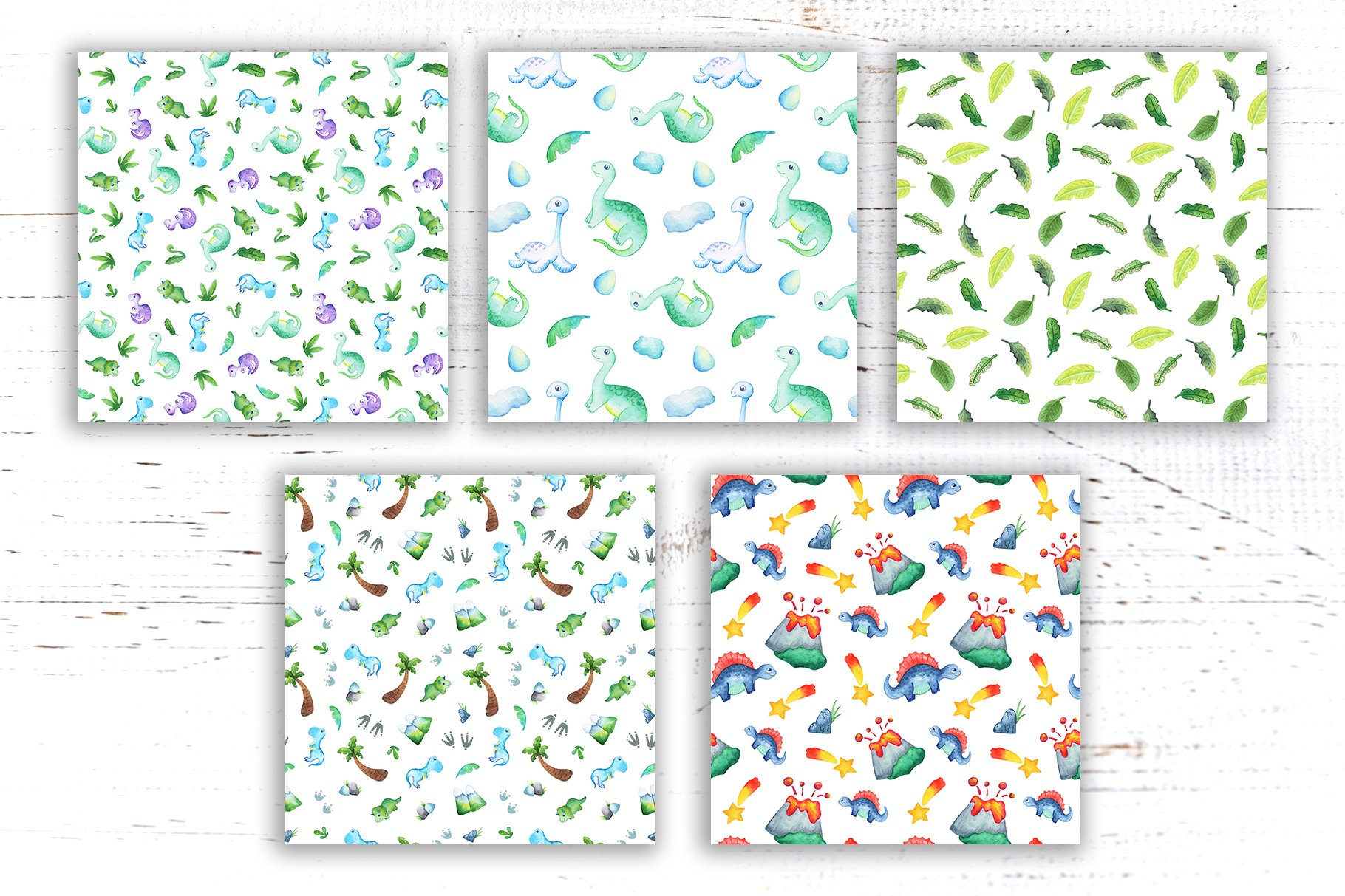 Watercolor Dinosaur Seamless Pattern Collection example image 3