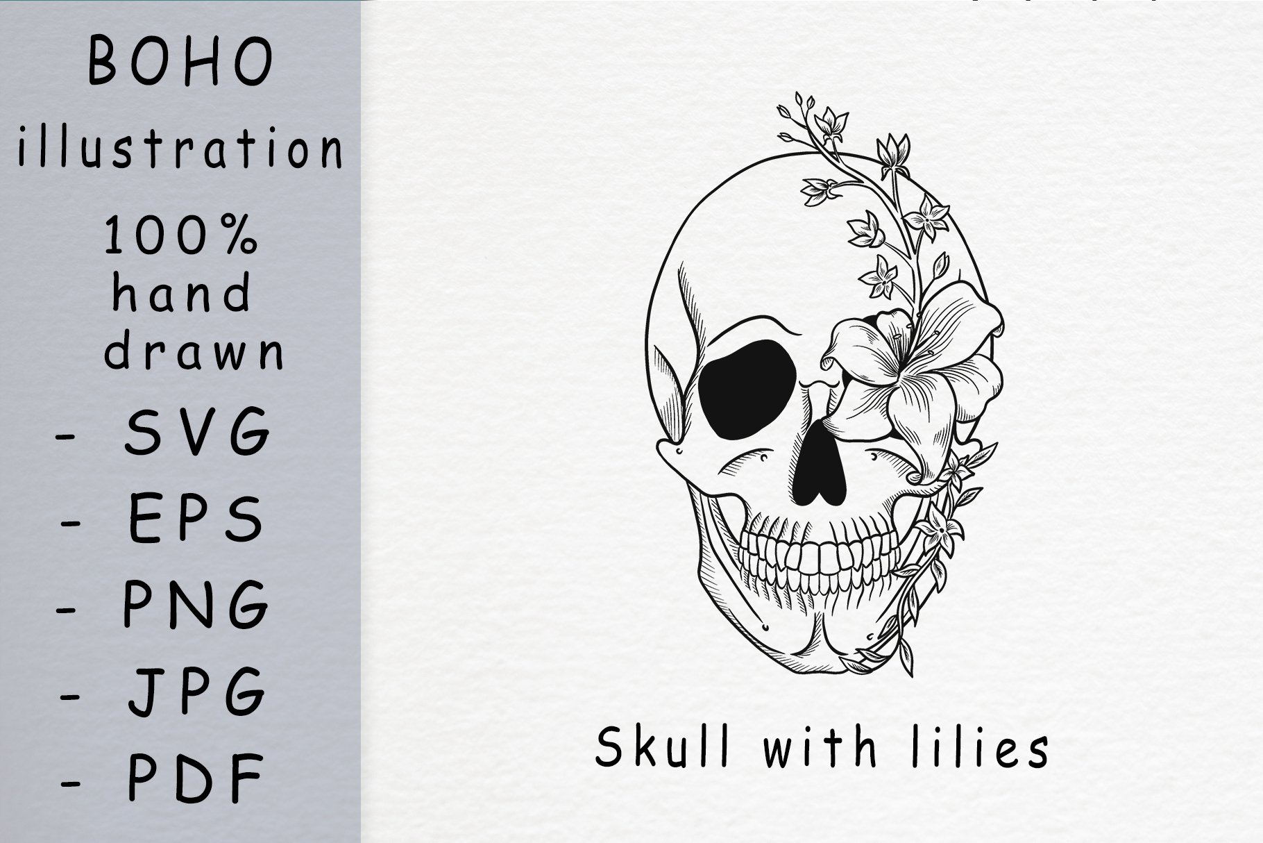 Boho illustration /skull with lilies example image 1