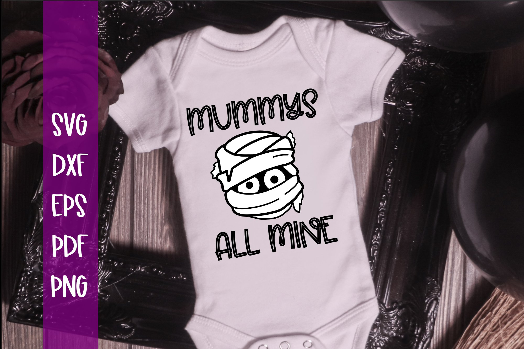 Mummys all Mine Boy and Girl Halloween SVG example image 2