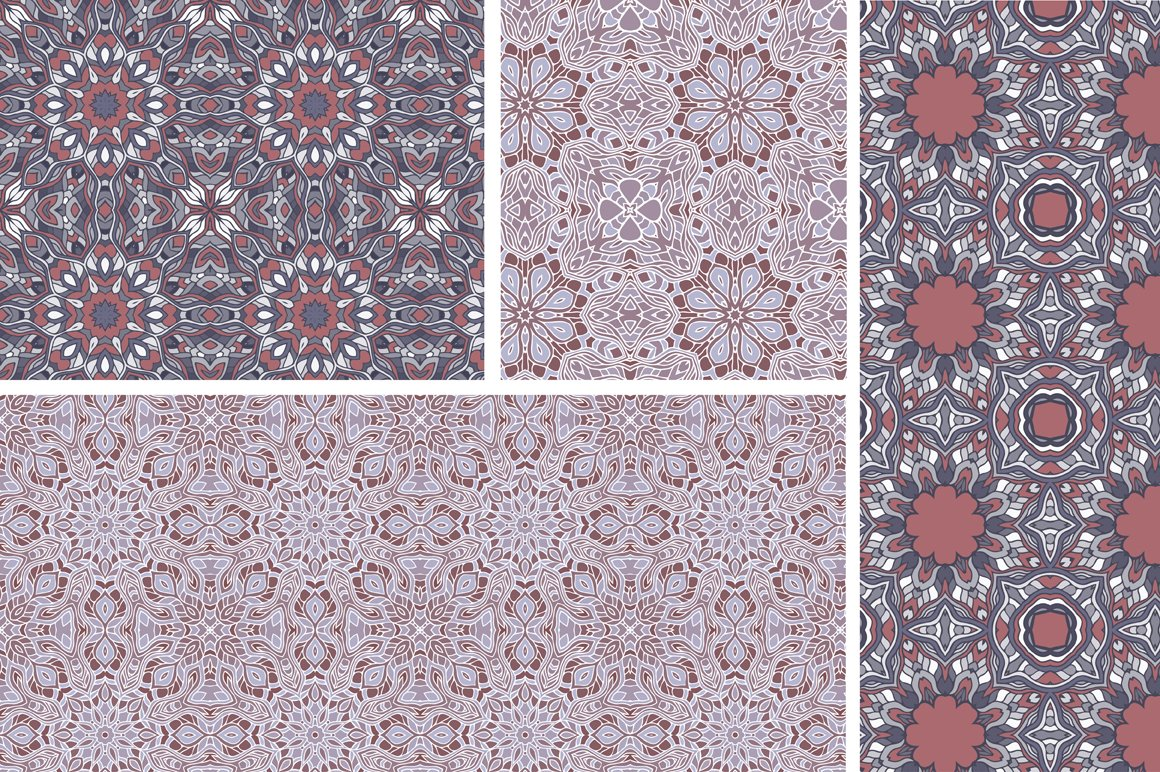 Set of 12 oriental seamless patterns example image 6