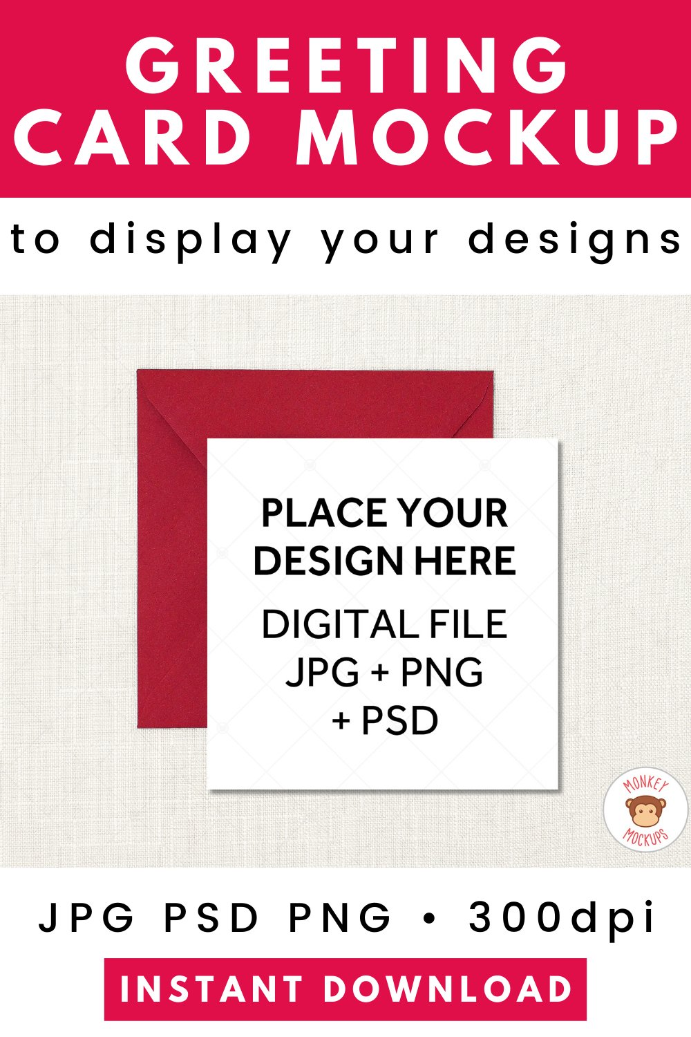 Square Card Mockup Red Envelope - JPG PNG PSD Smart Object example image 4