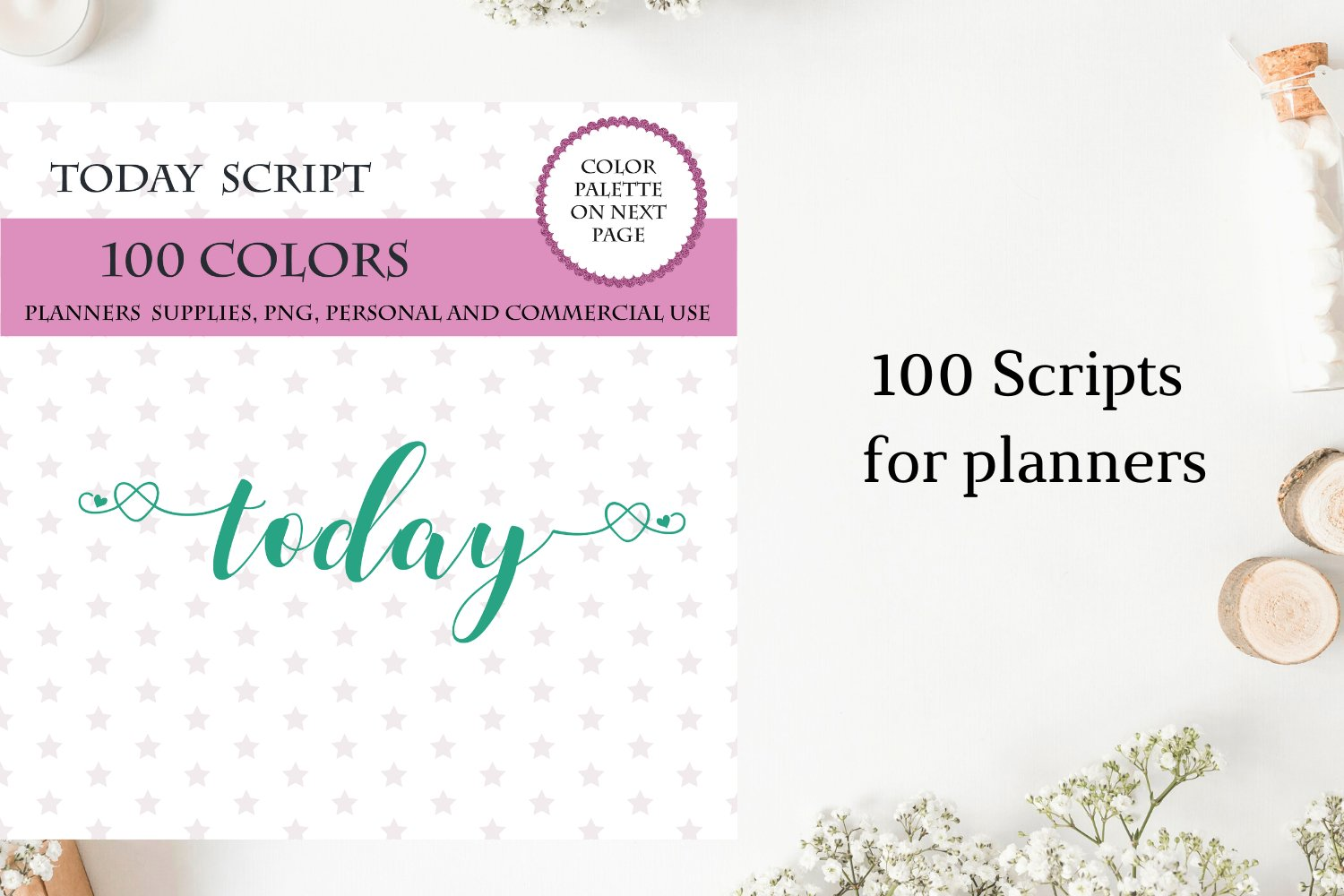 100 Today font clipart, Today sticker clipart, Today planner example image 2