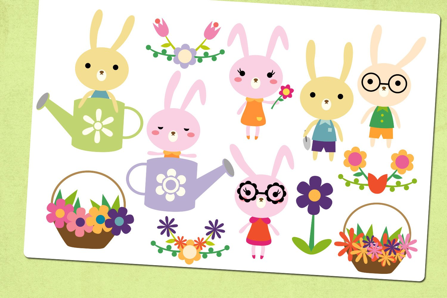 Spring bunny garden illustrations clip art example image 4