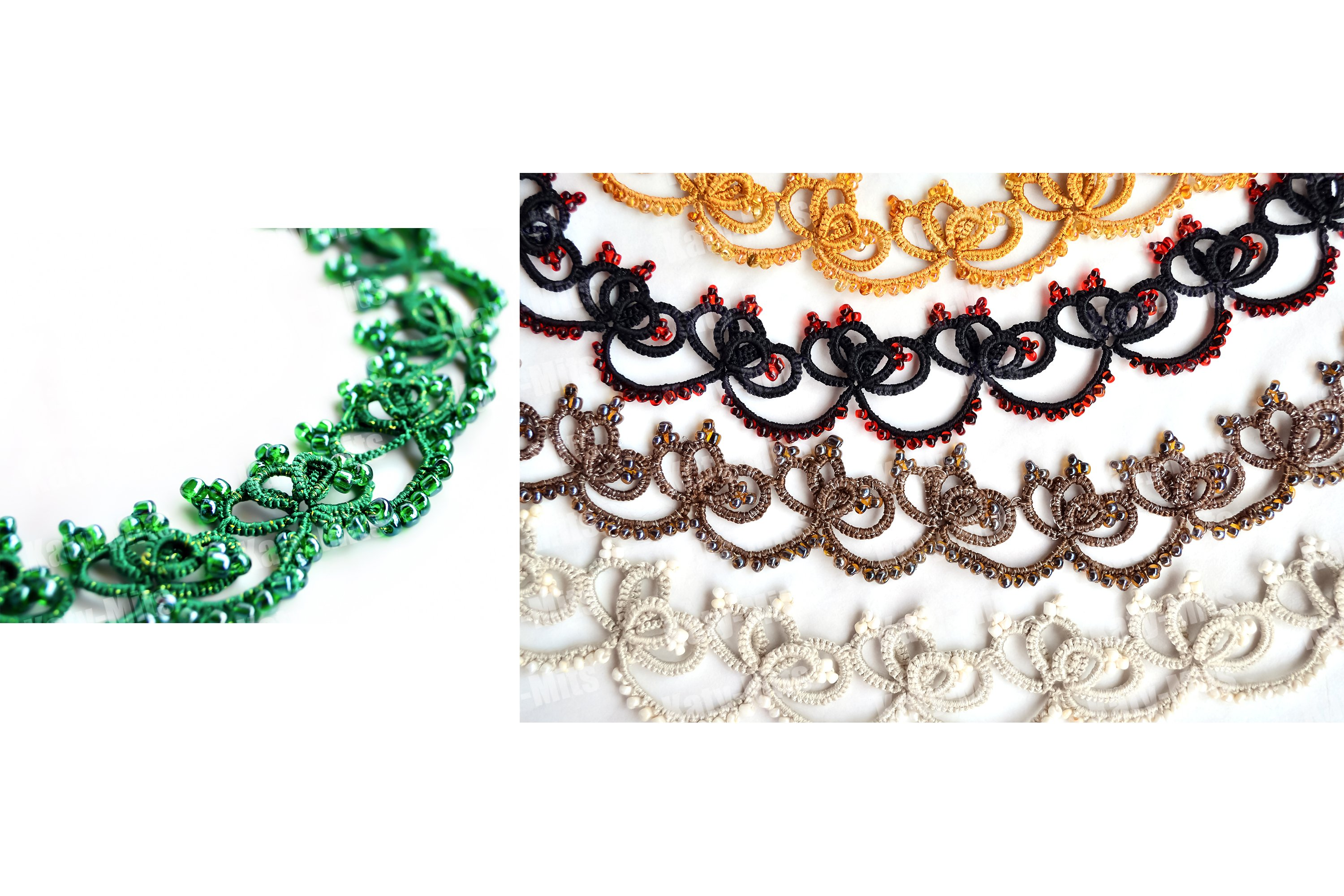 Wicker bracelletes or necklace. Set example image 1
