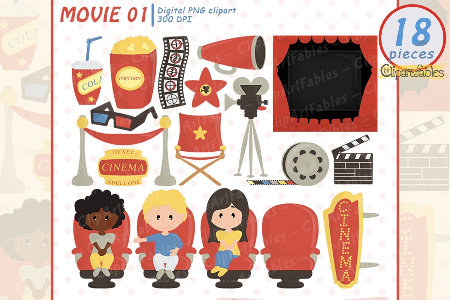 MOVIE clipart, Cinema clip art, Movie night party - INSTANT example image 1