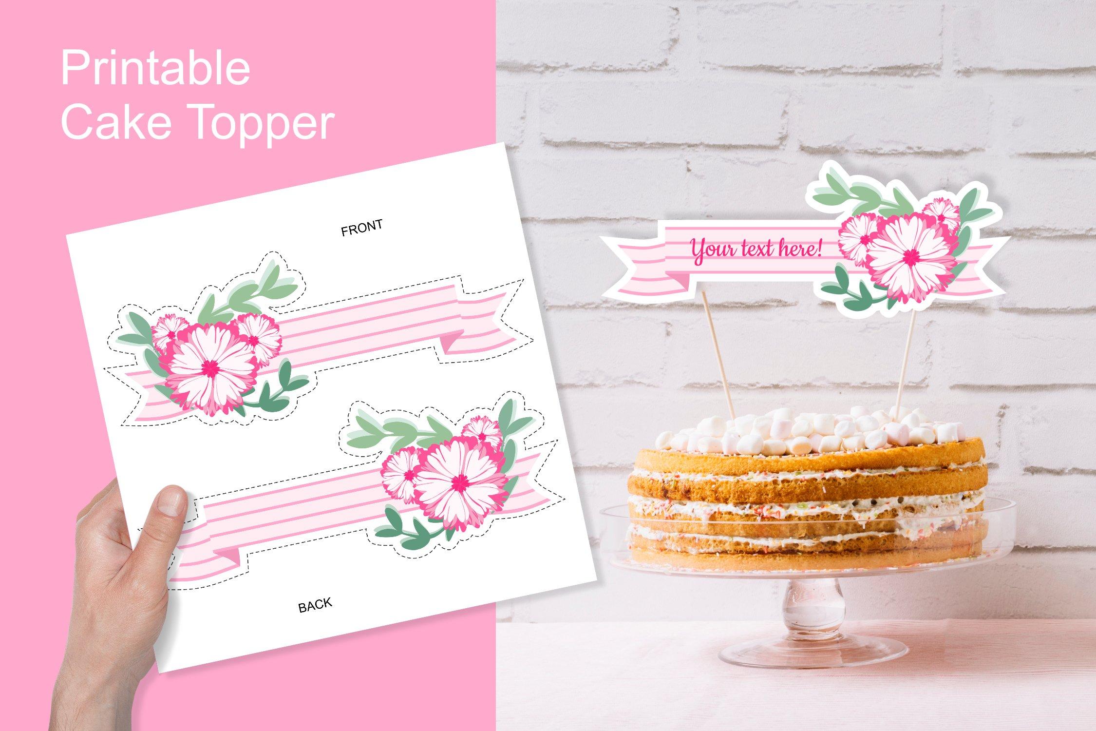 Printable Pink Baby Shower Flower Ribbon Banner Cake Topper example image 2