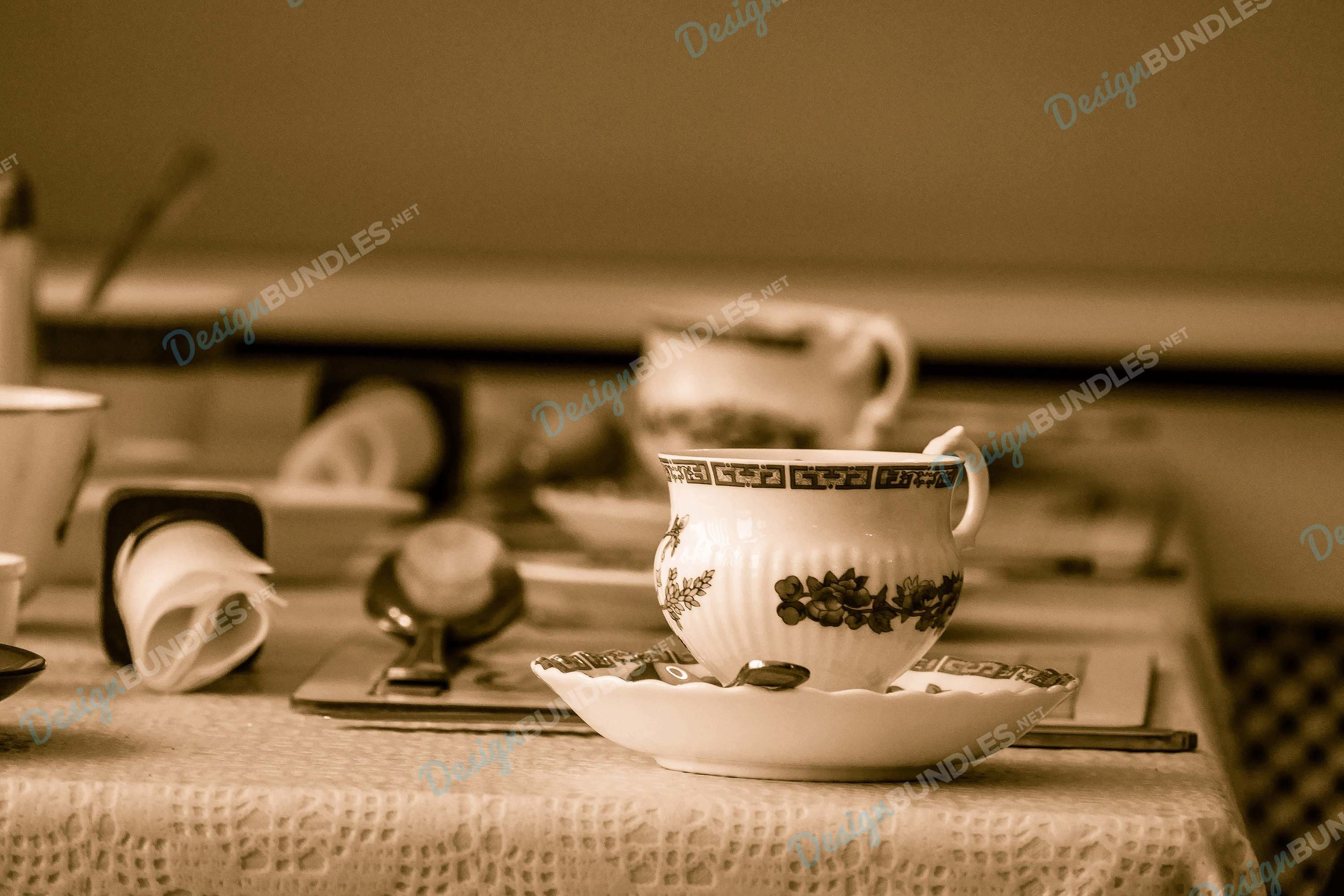 Stock Photo -Table setting served on table closeup example image 1