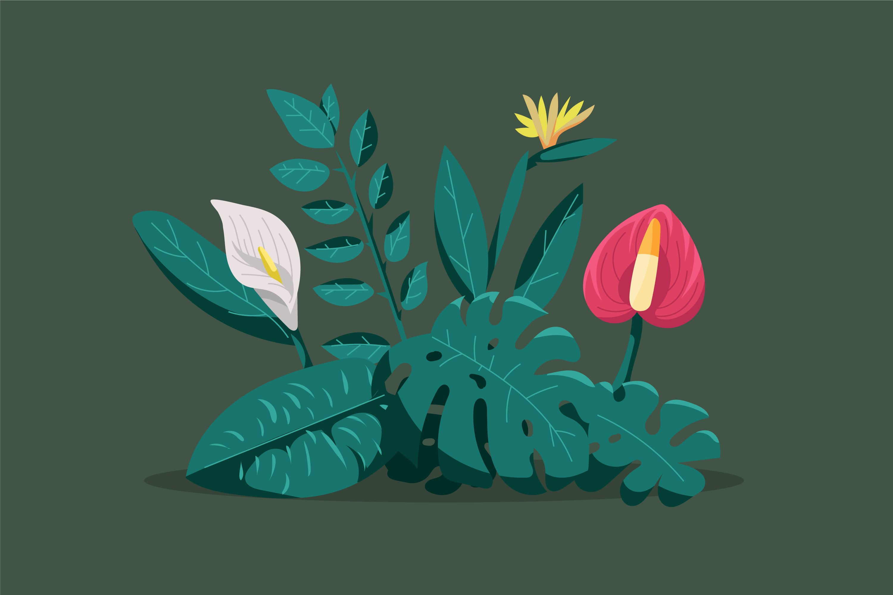 Flat Tropical Plants Vector example image 1