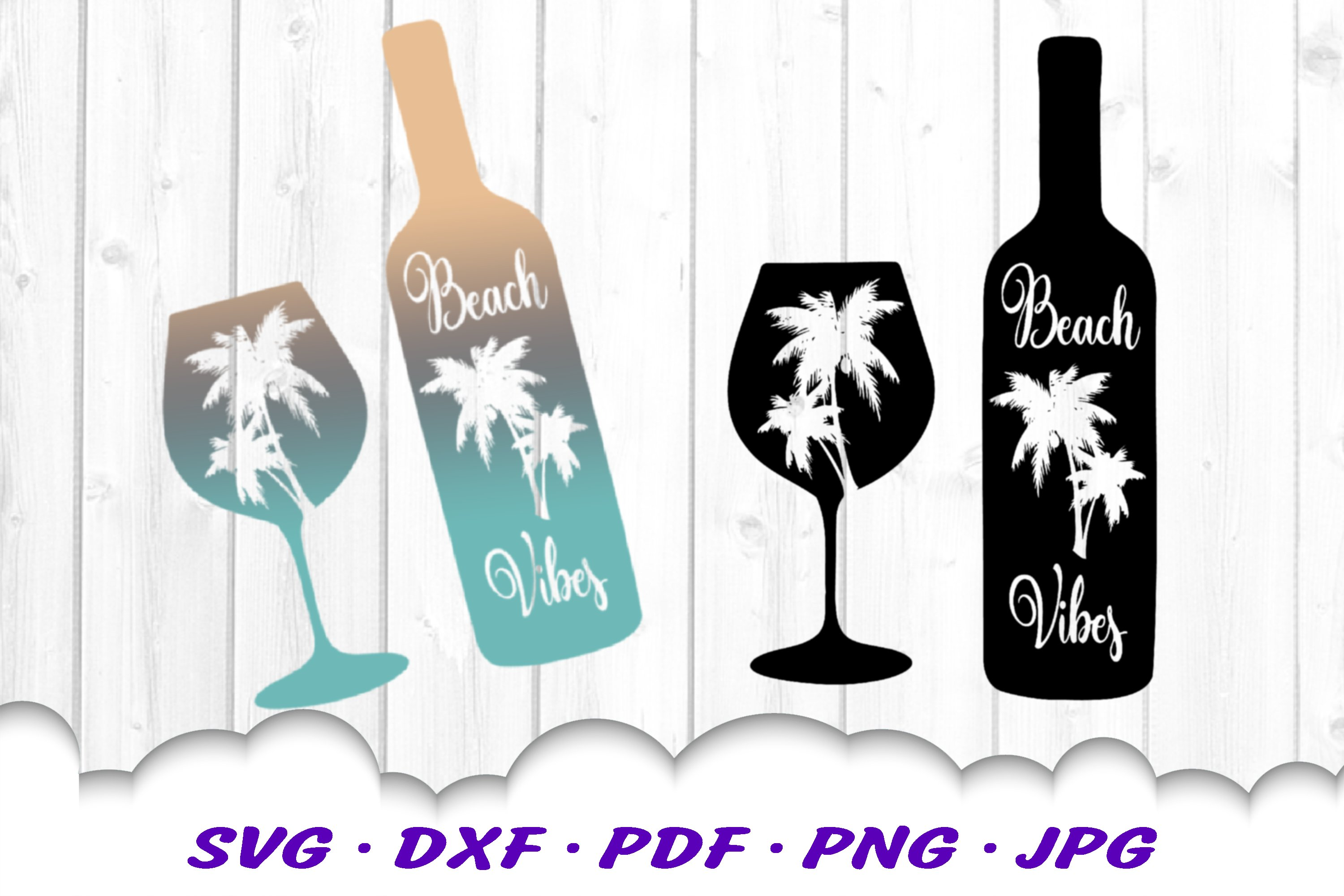 Beach Vibes Wine Bottle Glass SVG DXF Cut Files example image 2