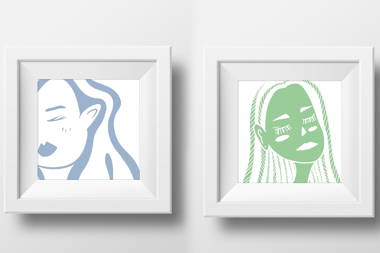 Girls portraits! 9 illustrations - eps, svg, png, jpg, cdr example image 3