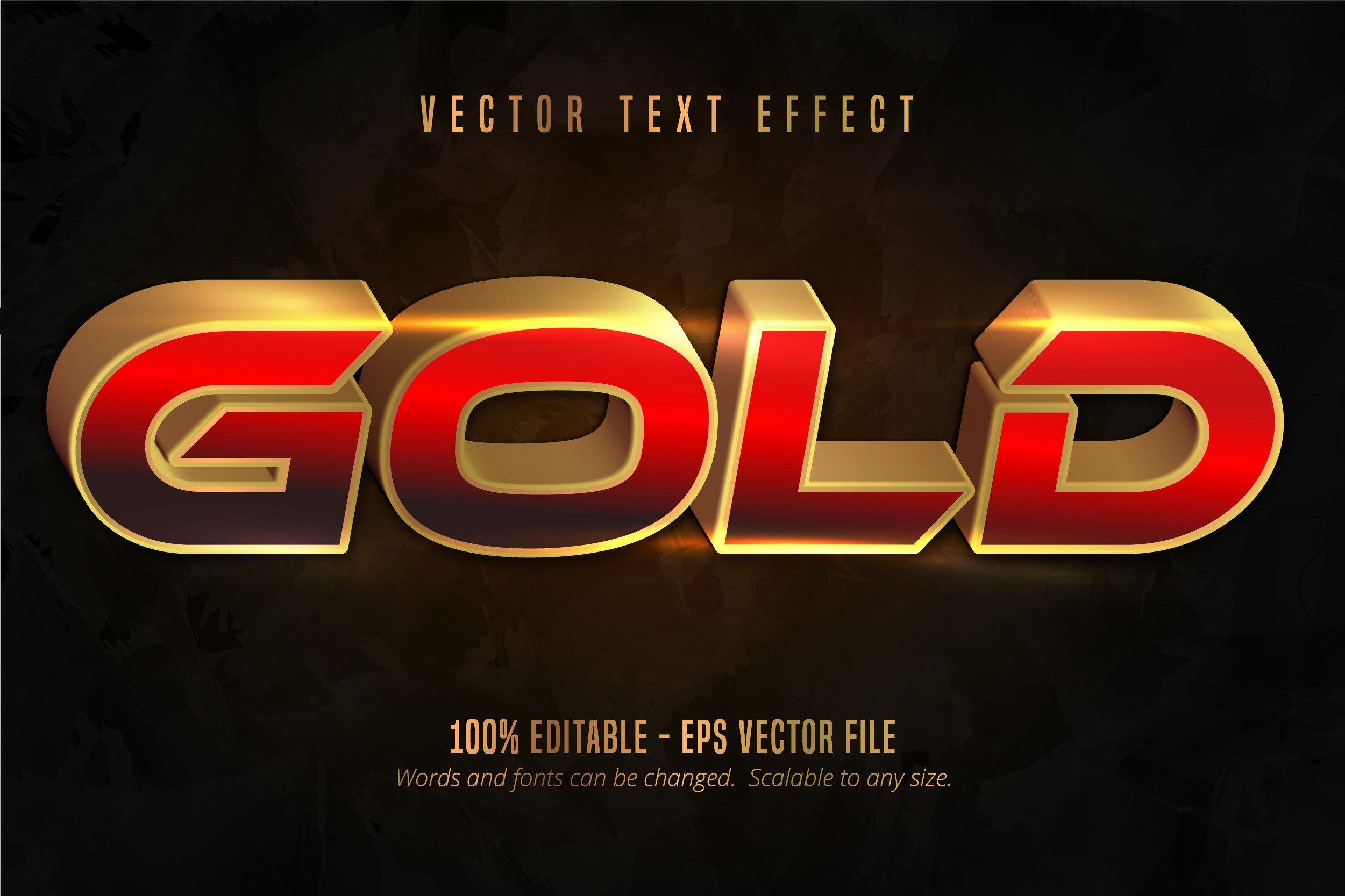 Shiny gold style text effect example image 1