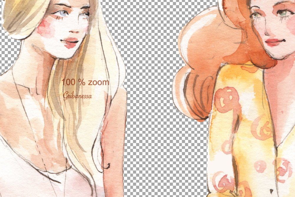 Fashion girls. Watercolor example image 2