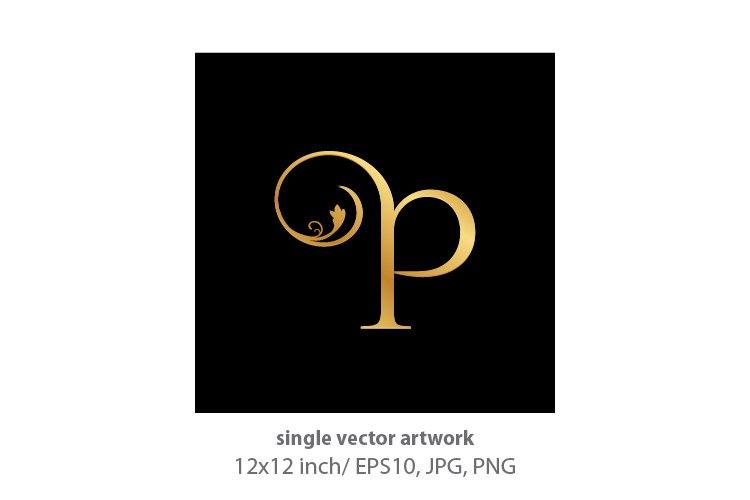 Decorative golden letter p example image 1