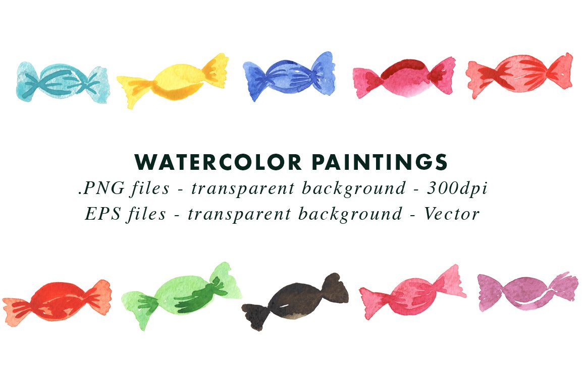 Watercolour Candy - Sublimation Clipart Illustrations vector example image 2