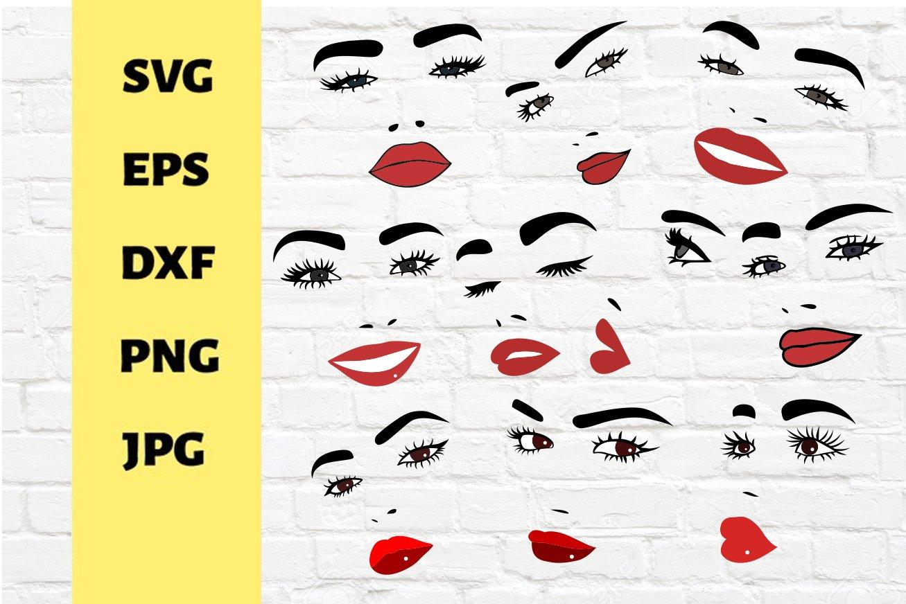 20 Bundle Files for Cricut, Face and lips designs 20   Cut ...