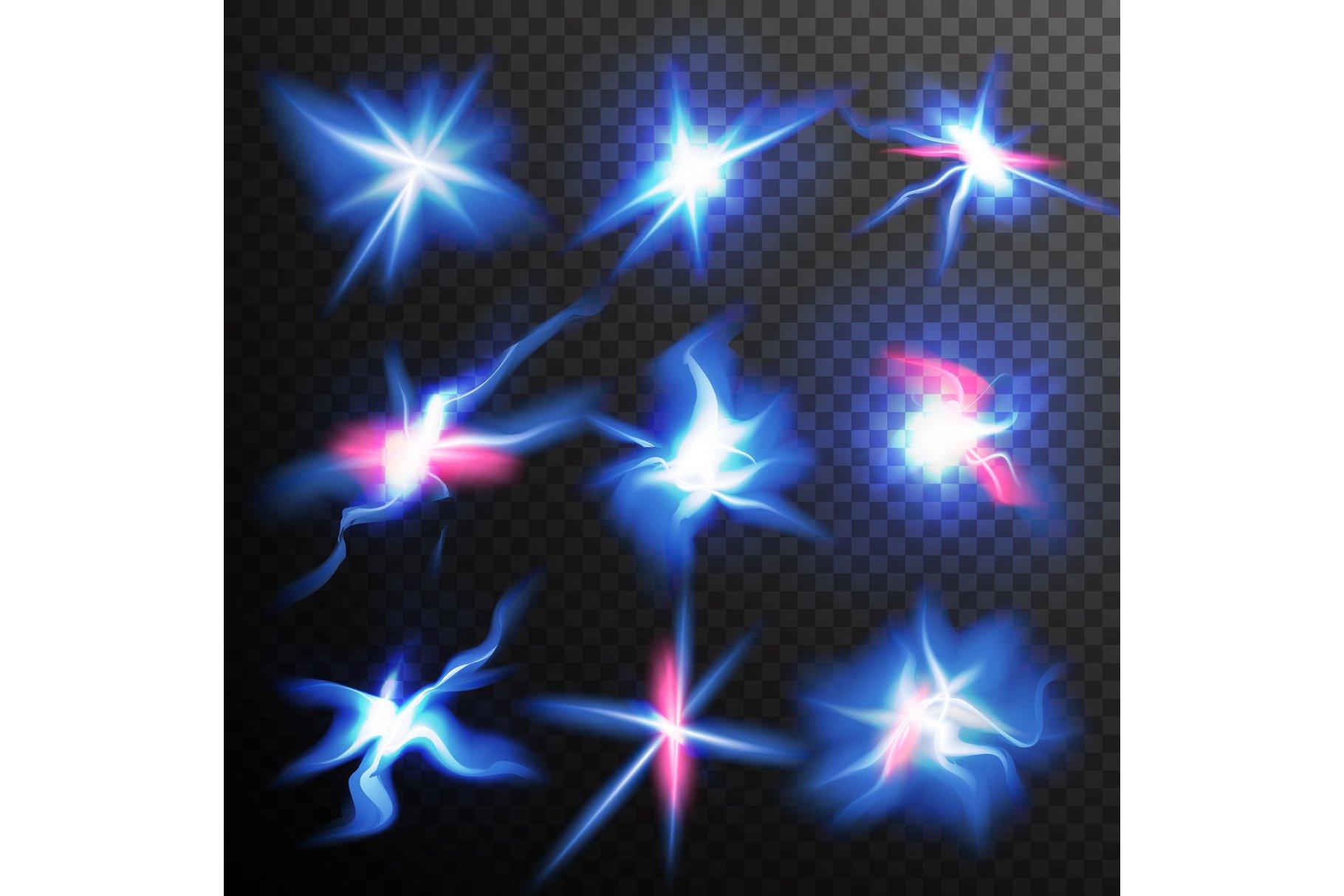 Blue Stars Bursts Glow Light Effect Vector. Magic Flash example image 1