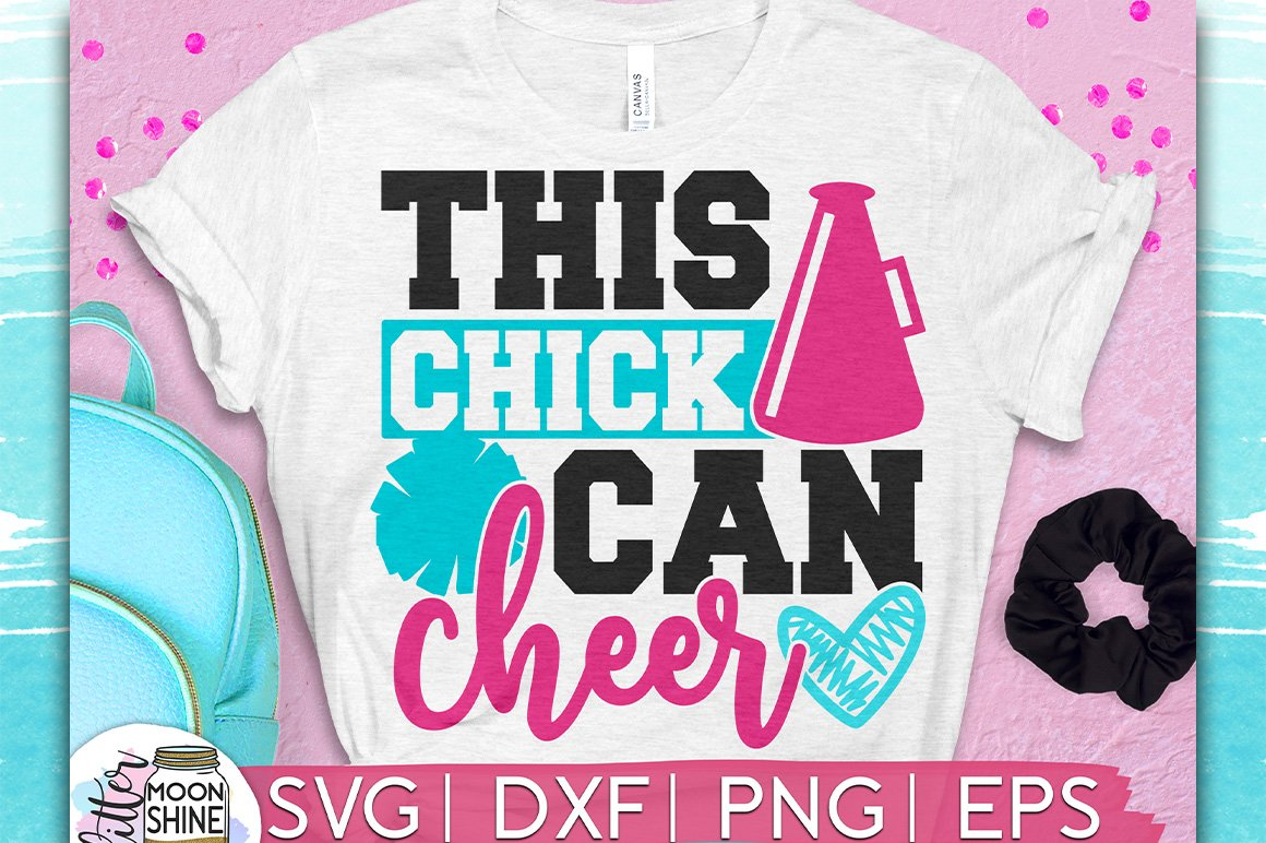 This Chick Can Cheer SVG DXF PNG EPS Cutting Files example image 1