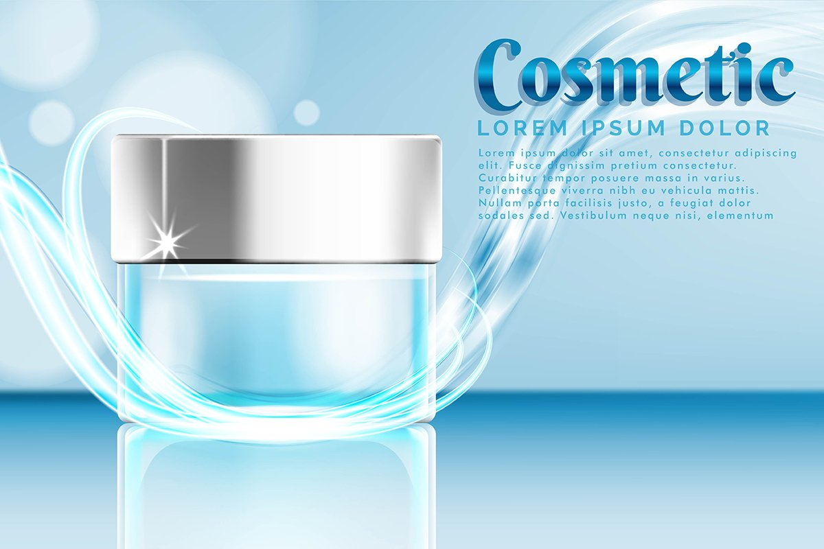 cream jar cosmetic products ad, with water splash background example image 1