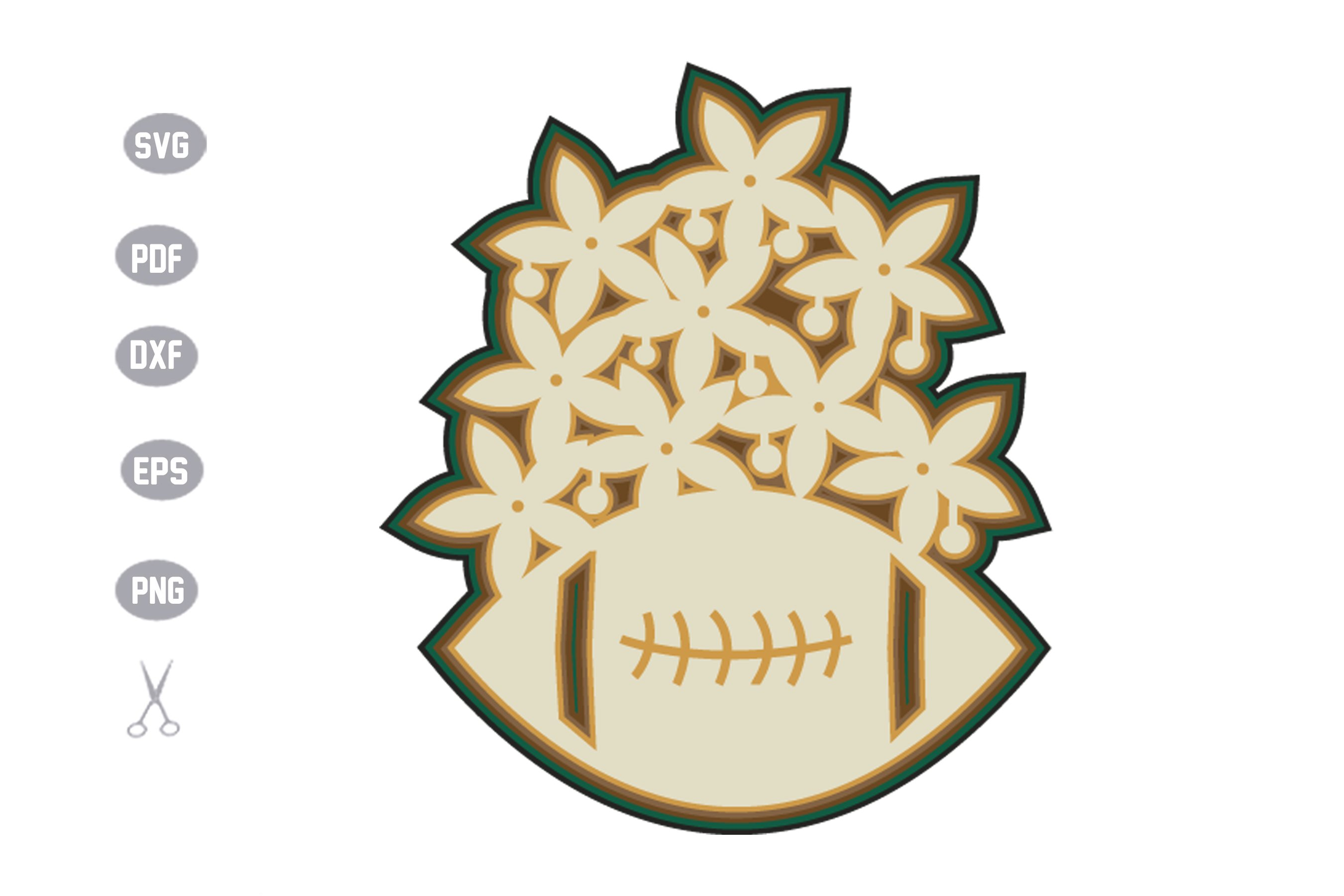 Football Flower 3D Layered Template Design example image 1