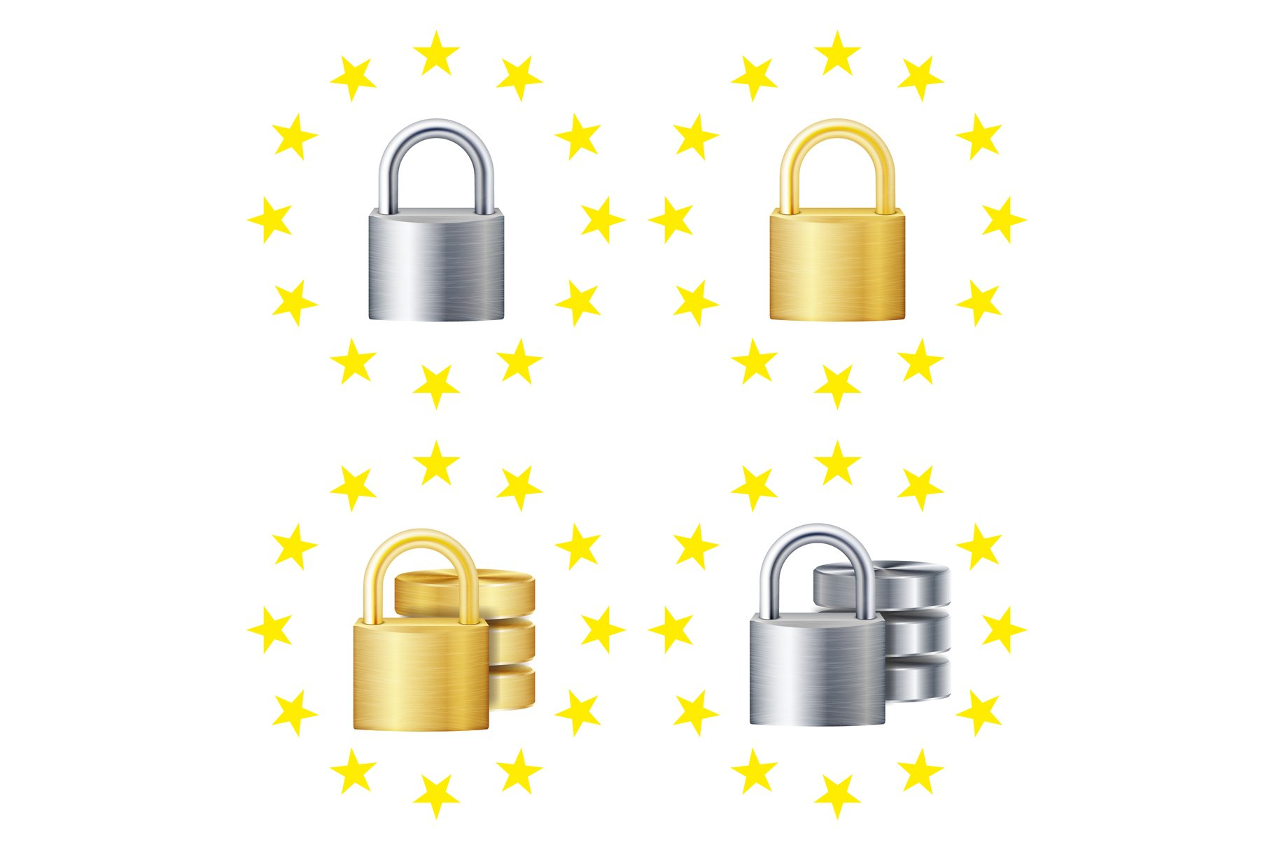 GDPR Sign Set Vector. Padlock. Security Technology. General example image 1