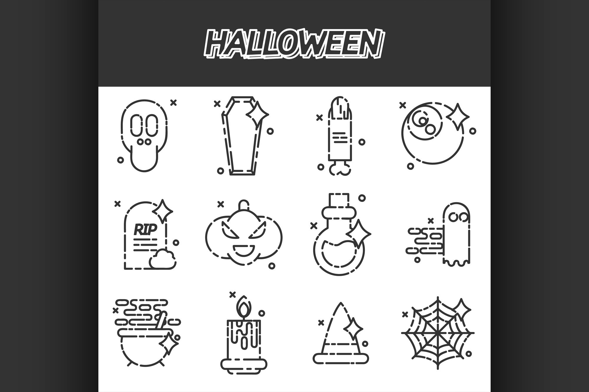 Halloween flat icons set example image 1