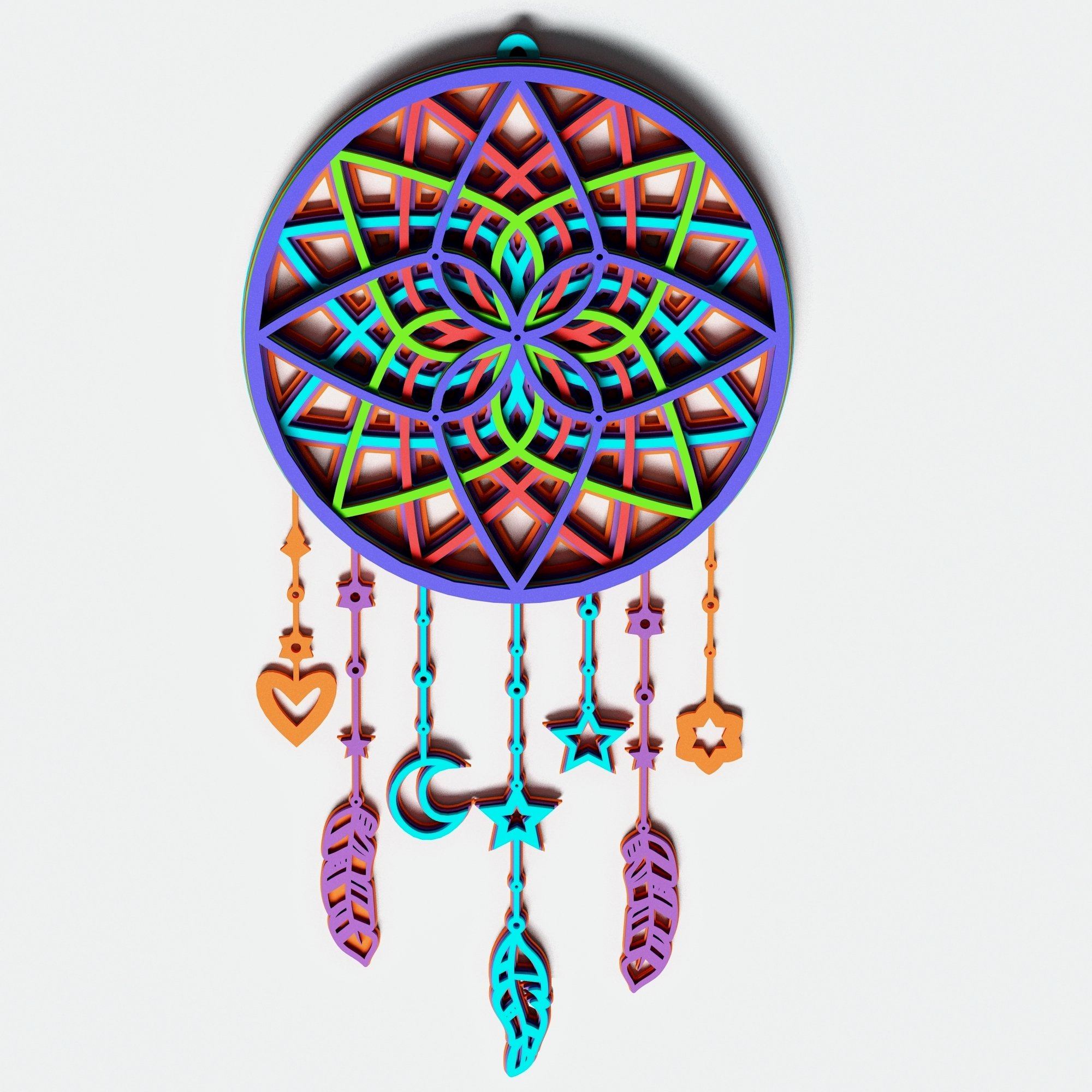 Dream Catcher Multilayer Mandala, Vector file for cutting example image 5
