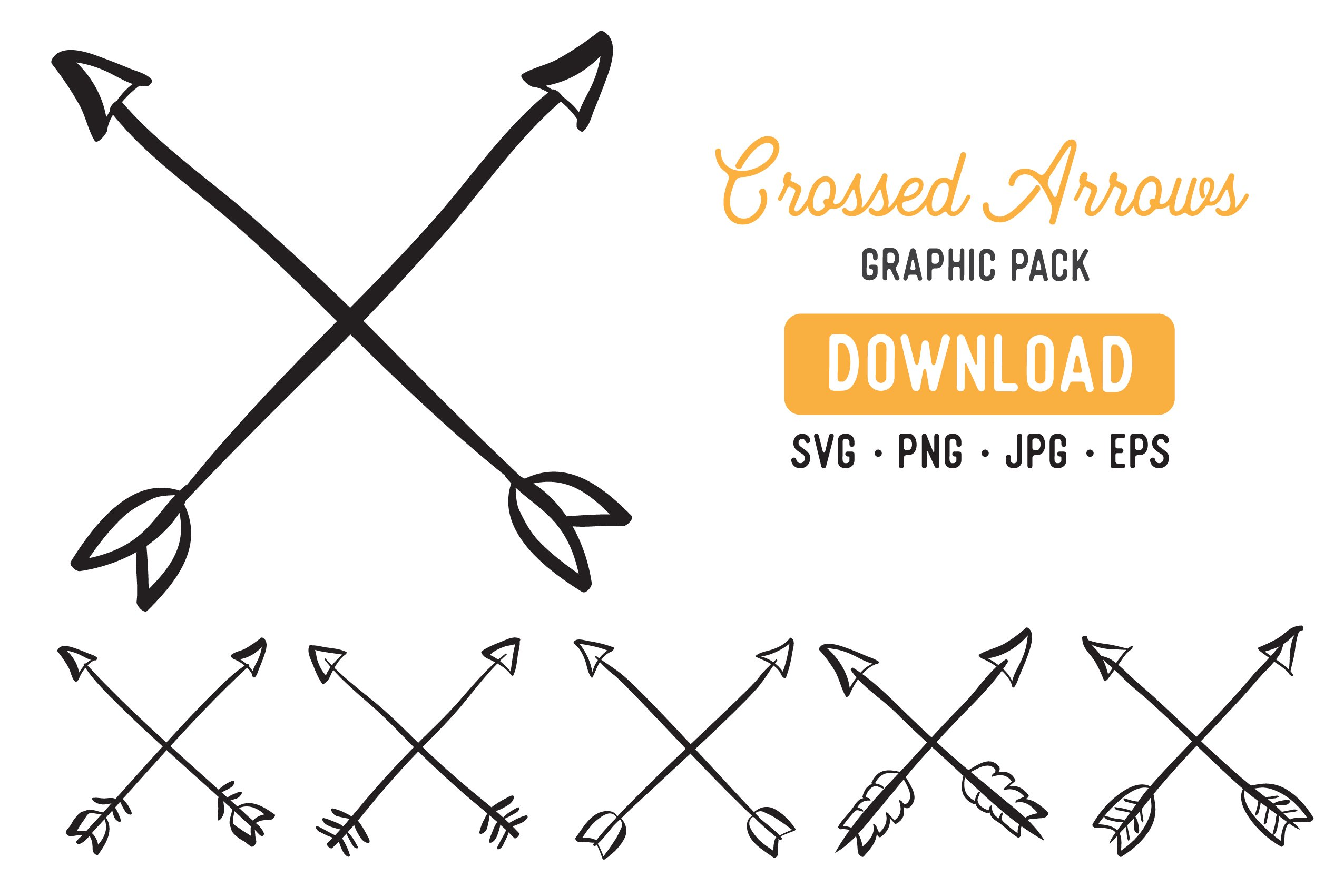 Crossed Arrow Vector Clipart Pack Doodle Arrow Clipart 279987 Illustrations Design Bundles